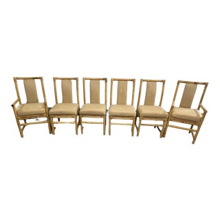 McGuire Style Rattan Dining Armchairs - Set of 6 For Sale