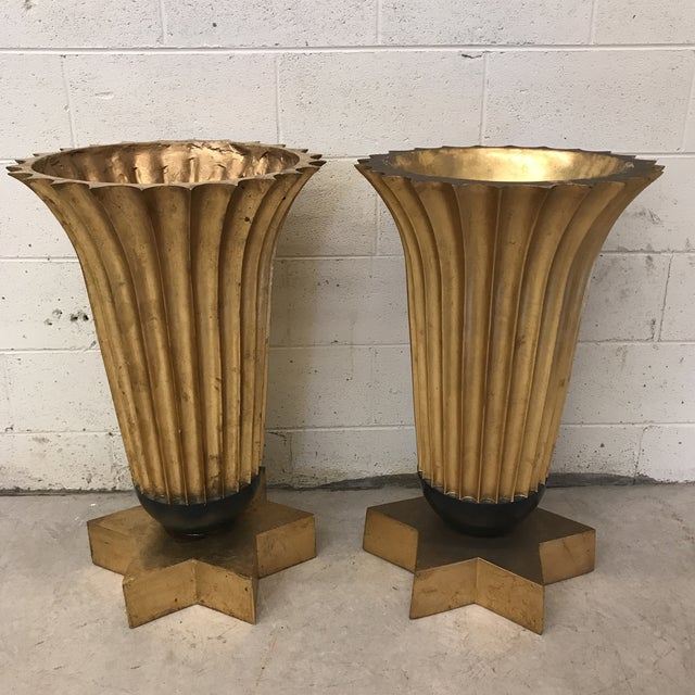 Gold Leaf Fiberglass Urns - A Pair - Image 2 of 11