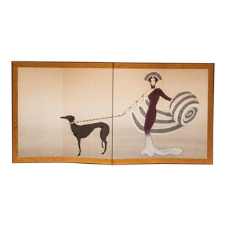 1950s Vintage Painted Silk Screen For Sale