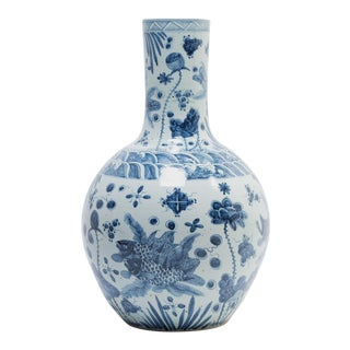 Monumental Chinese Blue and White Koi Bottleneck Jar For Sale