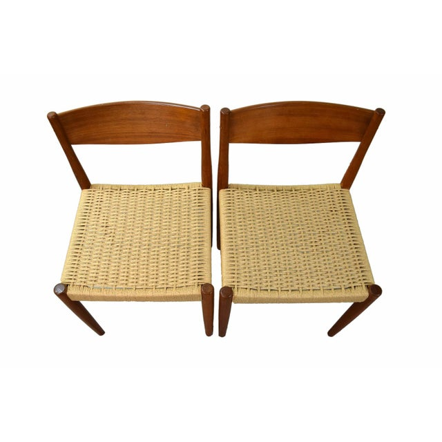 Frem Rojle Vintage Poul Volther for Frem Rojle Cord Dining Chairs - A Pair For Sale - Image 4 of 9