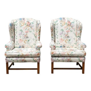 Vintage Chinoiserie Wingback Chairs - a Pair
