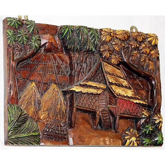 Hand-Carved Indonesian Wall Plaque For Sale - Image 5 of 5