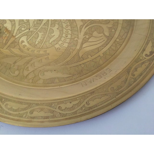 Mid 20th Century Vintage Mid Century Armenian Solid Brass Hand Etched Peacock Round Serving Tea Tray For Sale - Image 5 of 11