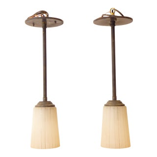 Mid-Century West German Glass Pendant Lights - a Pair For Sale