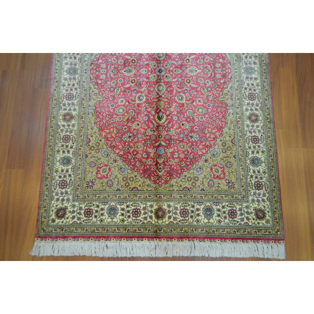 Hand Knotted Turkish Silk Rug - 4′ × 5′10″ - Image 7 of 9