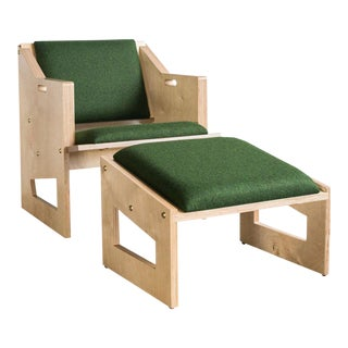 TGM Plywood Lounge Chair & Ottoman For Sale