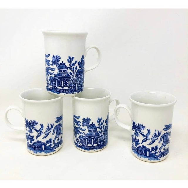 White Vintage Blue Willow Coffee Mugs - Made in England - Set of 4 For Sale - Image 8 of 8
