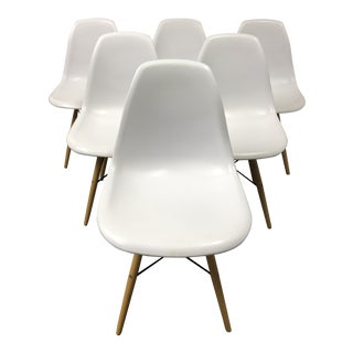 Eames Style White Molded Eiffel Chairs - Set of Six For Sale