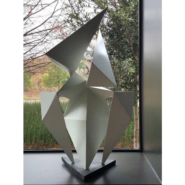 Phenomenal lacquered steel abstract sculpture by artist Edward D Hart. This sculpture comes from an important private...