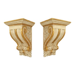 Italian Neoclassic Gilt Wall Shelves - a Pair For Sale