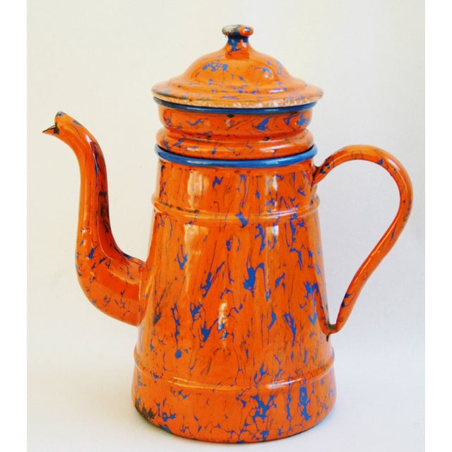 1940s French Marbleized Enameled Coffeepot - Image 2 of 7