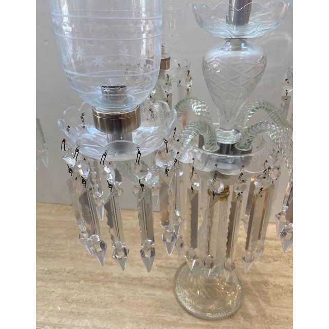 "Cut-Crystal Girandole Baccarat Style, French Regency 19c 33"" High For Sale In West Palm - Image 6 of 13"
