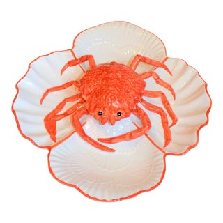 Vintage Italian Majolica Crab Serving Dish For Sale