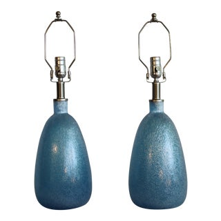 Textured Murano Art Glass Lamps - a Pair For Sale