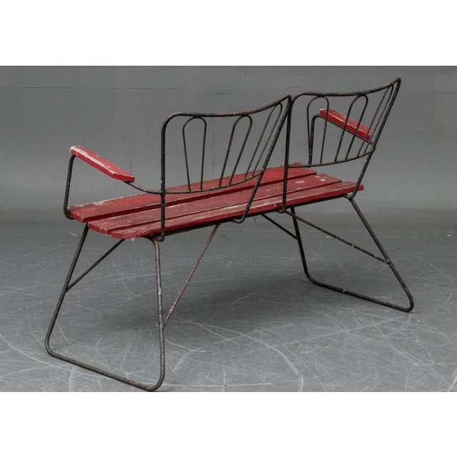 Steel frame with wood slats, made in Denmark in the 1950s. Delivery time 2-3 weeks. Dimensions H 31.5 in. x W 43.71 in. x...