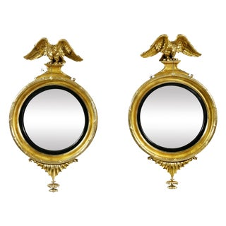 Federal Giltwood Convex Mirrors - a Pair For Sale