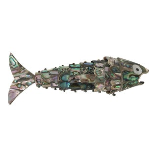 1960s Vintage Taxco Mexican Abalone & Silver Articulated Fish Bottle Opener