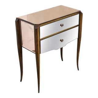French, 1940s Mirrored Nightstand For Sale