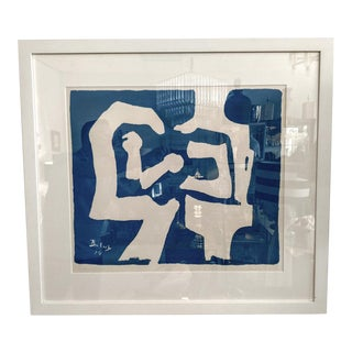 Miklos Batuz 1974, Blue Abstract Print For Sale