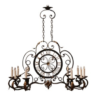Early 20th Century French Painted and Gilt Ten-Light Clock Chandelier For Sale