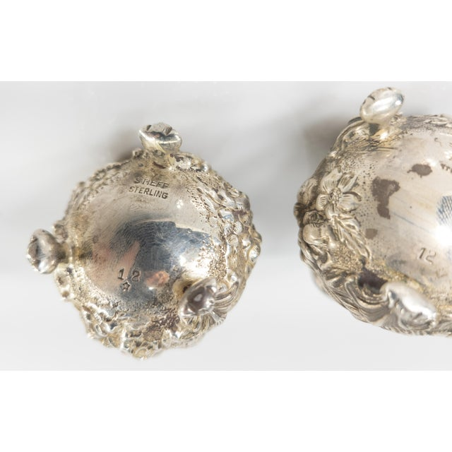 Early 20th Century Floral Sterling Silver Stieff Salt and Pepper Shakers For Sale In New York - Image 6 of 7