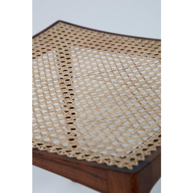 Caning Rare Bernt Petersen Rosewood Stool, 1960s, Denmark For Sale - Image 7 of 8