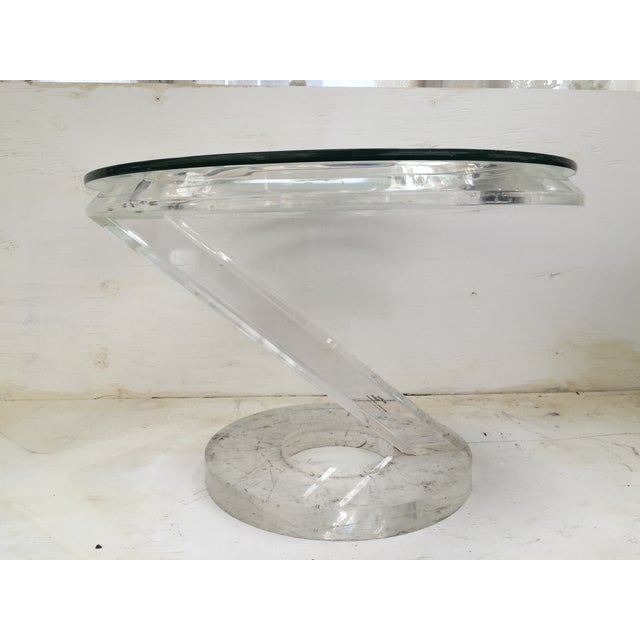 Solid Acrylic Lucite Side Table 1980s - Image 5 of 5