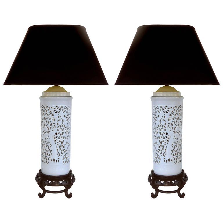 Mid 20th Century Asian Table Lamps In Porcelain On Wood Bases   Image 7 Of