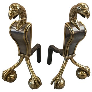 Russian Brass and Steel Andirons - A Pair For Sale