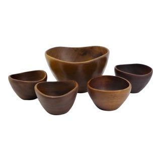 Danish Modern Teak Wood 1960s Organic Modern Salad Set 5 Pcs For Sale