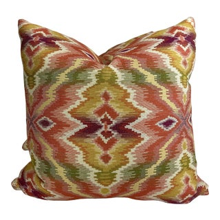 """Woven Ikat in Multi 22"""" Pillows-A Pair For Sale"""