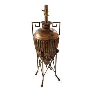 Vintage Cooper Bronze Greek Key Lamp For Sale