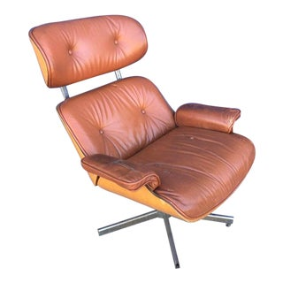 Mid Century Modern Plycraft Selig Bentwood & Leather Lounger Chair For Sale