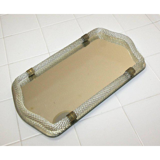 Hollywood Regency Italian Murano Twisted Glass Rope Vanity Tray For Sale - Image 3 of 11