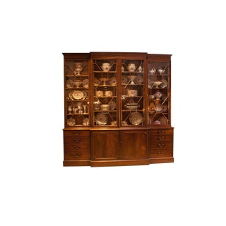 George III Period Mahogany Breakfront Bookcase For Sale