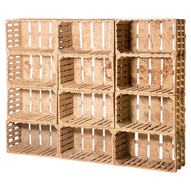 Bookcase Made Out of 12 Wooden Crates From Early 20th Century France For Sale