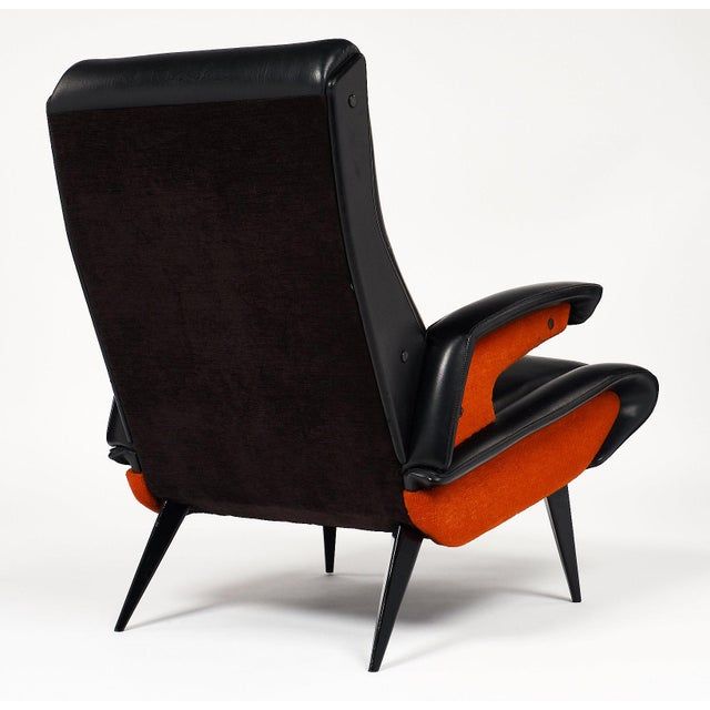 Black French Mid-Century Armchairs - a pair For Sale - Image 8 of 10