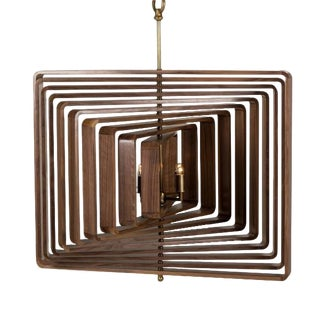 Contemporary 10 Layer Spiral Walnut Chandelier For Sale
