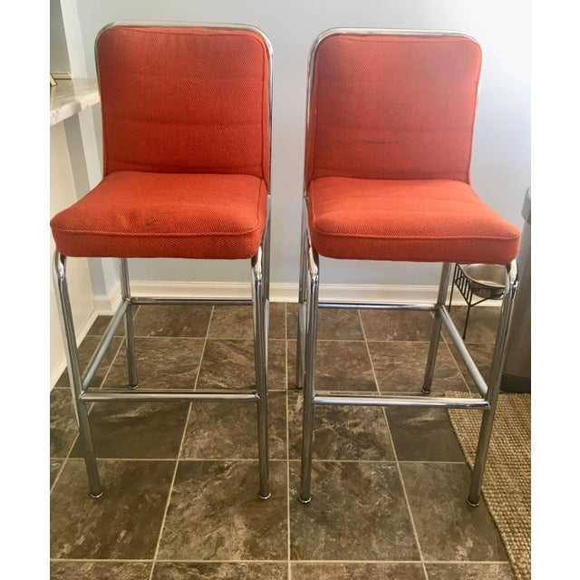 Comfortable, heavy, well-constructed pair of retro Mid-Century bar stools. These were purchased from an antique dealer in...