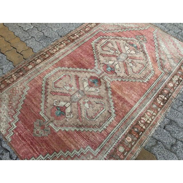 Textile Oushak Handmade Distressed Antique Floor Carpet For Sale - Image 7 of 11