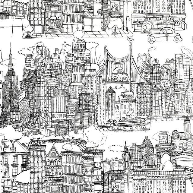 Schumacher New York New York Wallpaper in Black on White For Sale