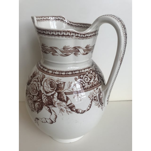 White 19th Century Large Scale Floral Ribbon English Ironstone Pitcher For Sale - Image 8 of 8