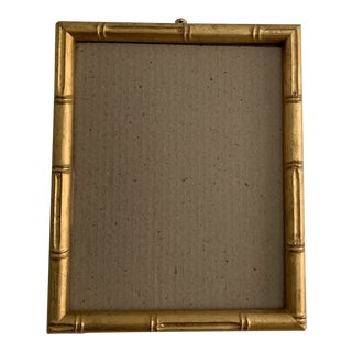 1980s Hollywood Regency Small Gold Bamboo Frame For Sale