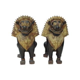 Chinese Tibetan Guardian Lions Foo Dog Statues