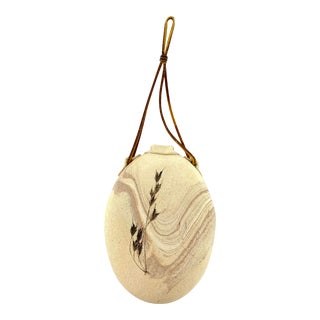 Hanging Pottery Vase with Leather String For Sale