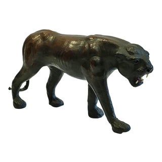 Mid-Century Black Leather Panther C. 1970
