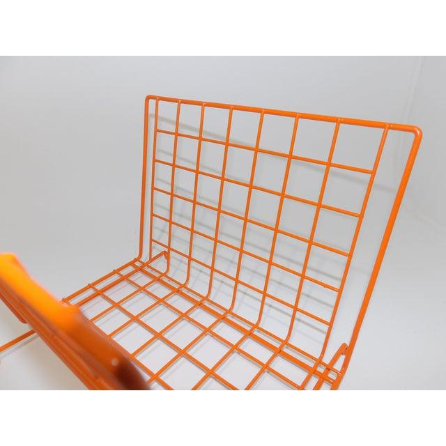 Brass Mid Century Modern Orange Wire Metal Magazine Rack For Sale - Image 7 of 8