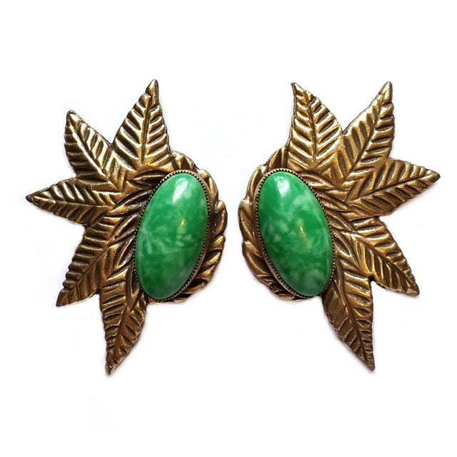 Early 20th Century 1930s Green Cabochon Dress Clips - a Pair For Sale - Image 5 of 5