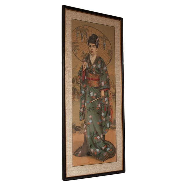 Glass 1850s Antique Japanese Silk Portrait of a Noble Lady Panel Painting For Sale - Image 7 of 11